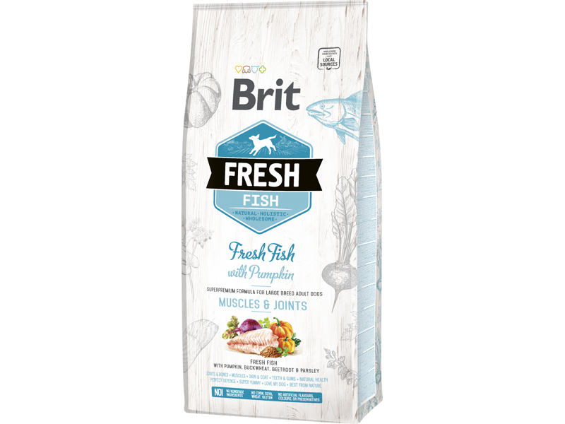 BRIT FRESH ADULT LARGE MUSCLES AND JOINTS  FRESH FISH & PUMPKIN HUNDEFODER