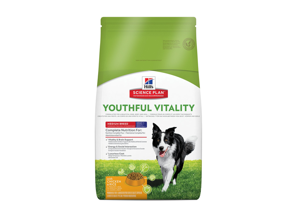 HILL'S SCIENCE PLAN CANINE ADULT 7+ YOUTHFUL VITALITY MEDIUM BREED WITH CHICKEN & RICE HUNDEFODER